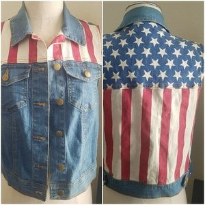 Forever 21 Premium Denim American Flag Vest.